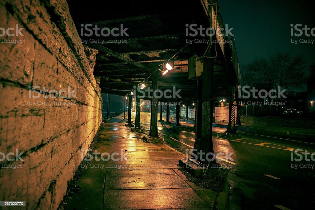 Dark City Bridge stock photo