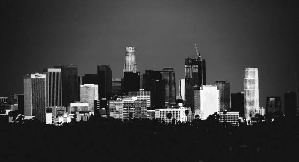 Dark city - Los Angeles downtown stock photo