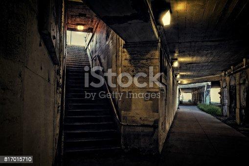Dark urban downtown city train tunnel.