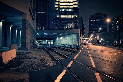 Dark City Train Tunnel at Night