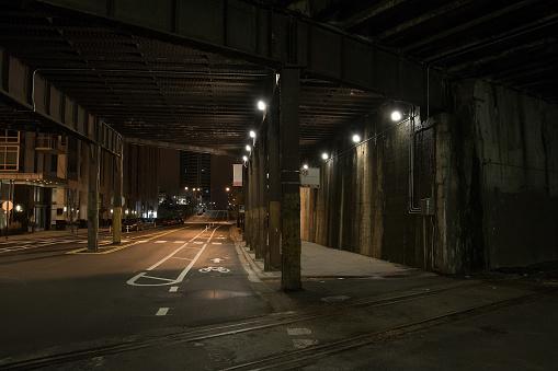 Dark City Train Tunnel Street at Night
