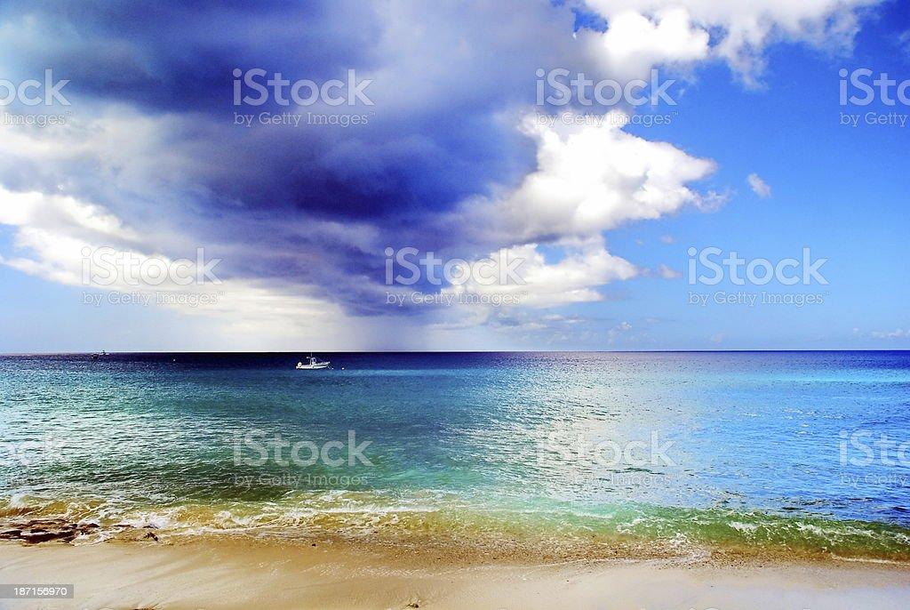 Dark Cloud over Caribbean Sea stock photo