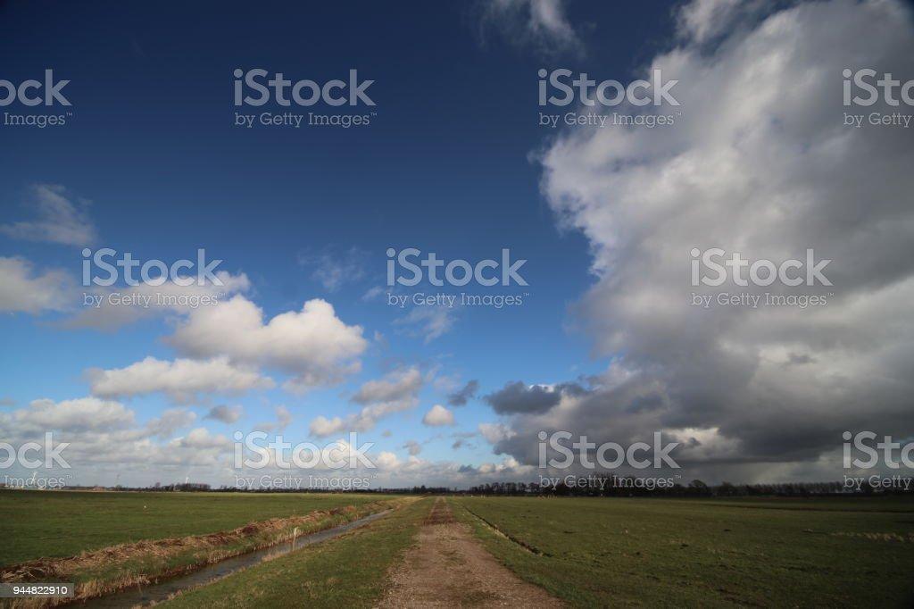 donkere wolken en blauwe lucht over de Zuidplaspolder die bekend als het laagste gebied van West-Europa in Nederland staat foto