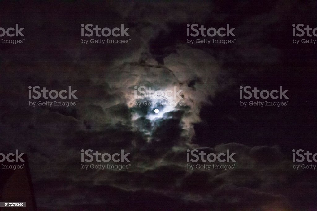 Dark clouds and moon stock photo