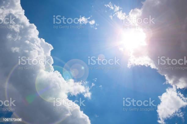 Photo of Dark clouds on blue sky.