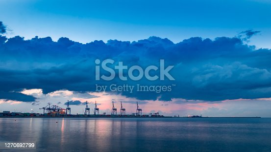 Dark clouds over a container facility, and the only deep-water terminal in the Baltic Sea Region.