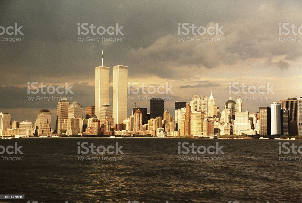 Dark clouds over New York City stock photo