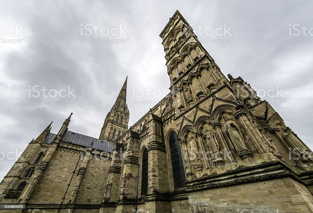 Dark Clouds over Salisbury Cathedral stock photo