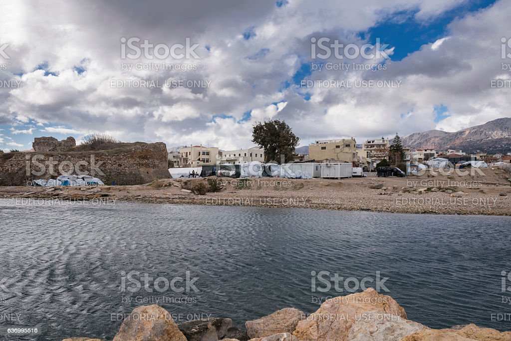 Dark clouds over Souda refugee camp on Chios stock photo