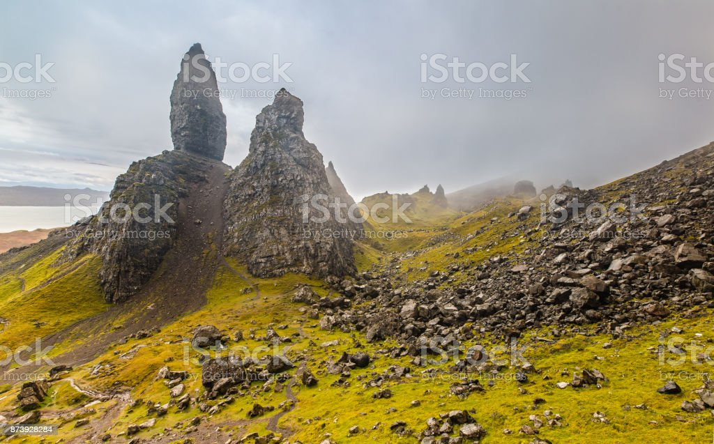 Dark Clouds over the Old Man of Storr stock photo