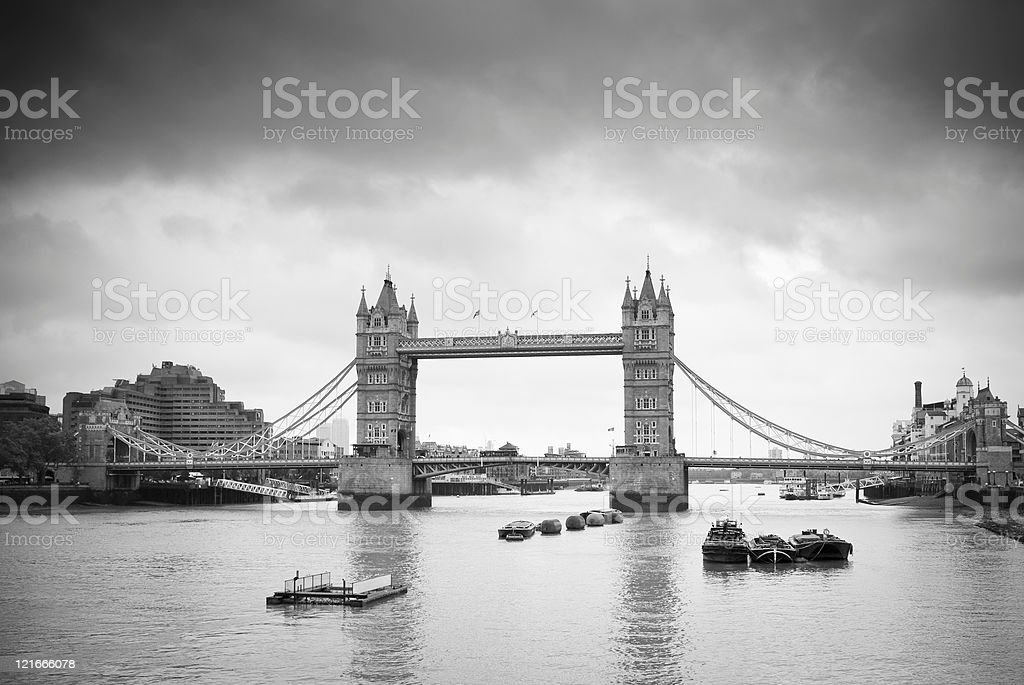 Dark clouds over Tower Bridge (B&W) royalty-free stock photo