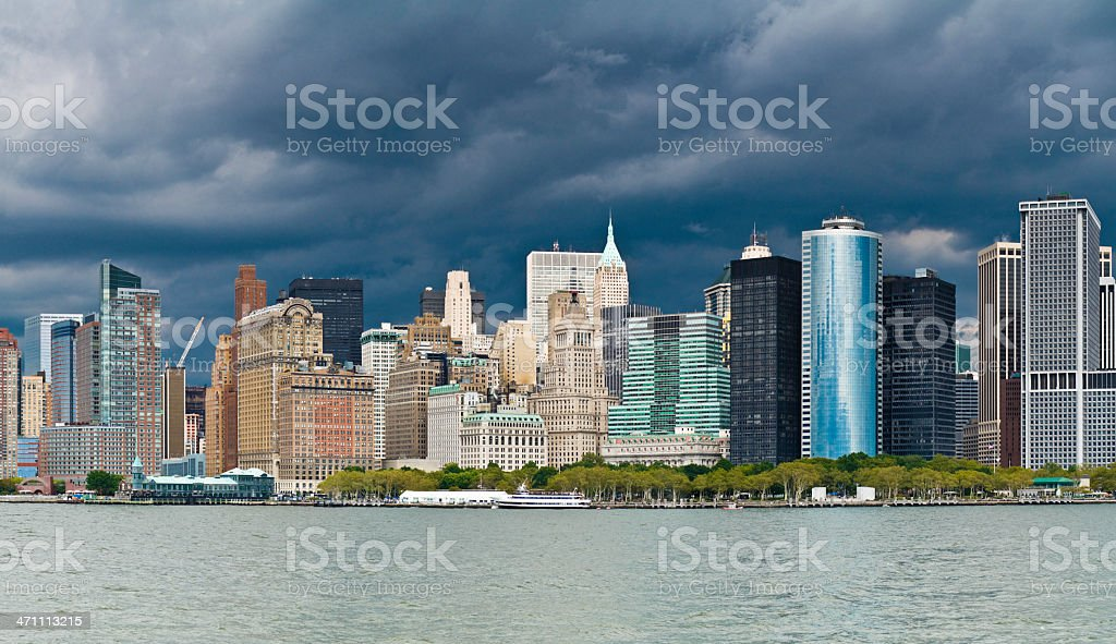 Dark clouds over Wall Street royalty-free stock photo