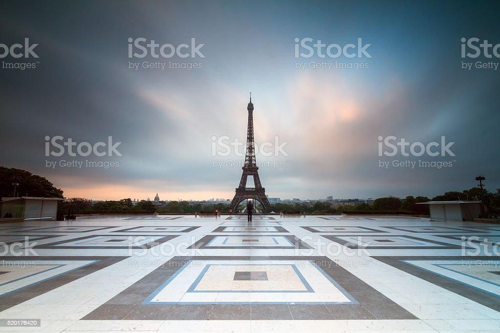 Dark clouds Trocadero stock photo