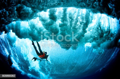 A surfer girl in bright pink board shorts duck dives a dark wave breaking over her. Point of view from underneath the wave.