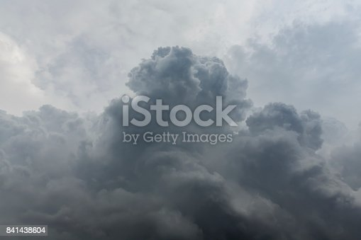 istock Dark cloudy sky are forming a rainstorm 841438604