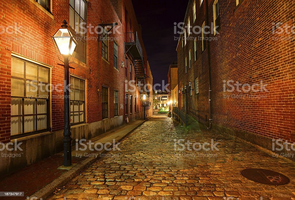 Dark Cobblestone Alleyway stock photo