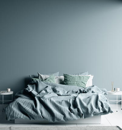 istock Dark cold blue bedroom interior with linen sheet on bed, wall mock up 1181882546