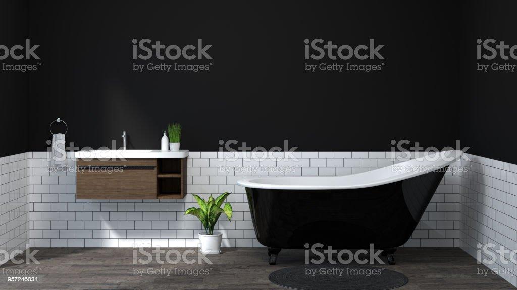 dark color interior bathroom ,toilet,shower,modern home design 3D Illustration for copy space background white tile bathroom stock photo