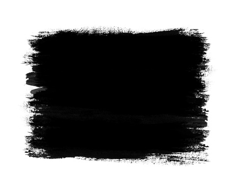 Dark color paint with brush stroke isolated on white background