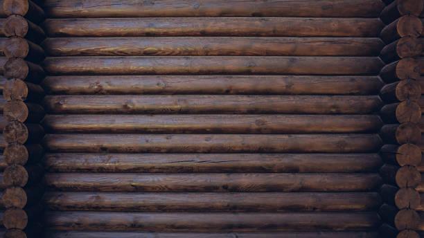 koyu renkli ahşap kabin duvar doku arka plan - kütük ev stok fotoğraflar ve resimler