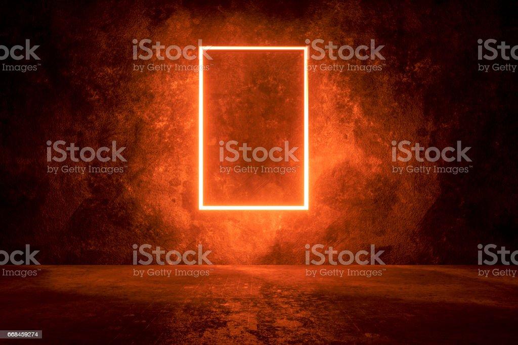 Dark concrete background with illuminated frame
