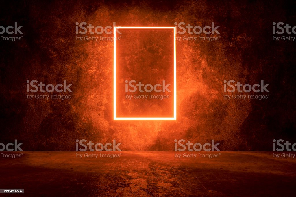 Dark concrete background with illuminated frame stock photo