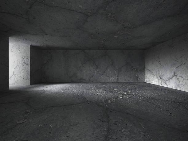 Dark concrete basement room interior with light door – Foto