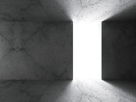 Dark concrete empty room. Architecture background. 3d render illustration