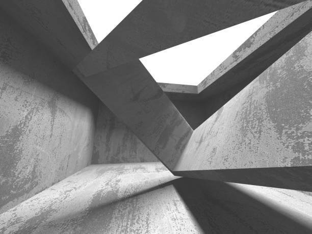 Dunkler Beton leerer Raum. Modernes Architekturdesign – Foto
