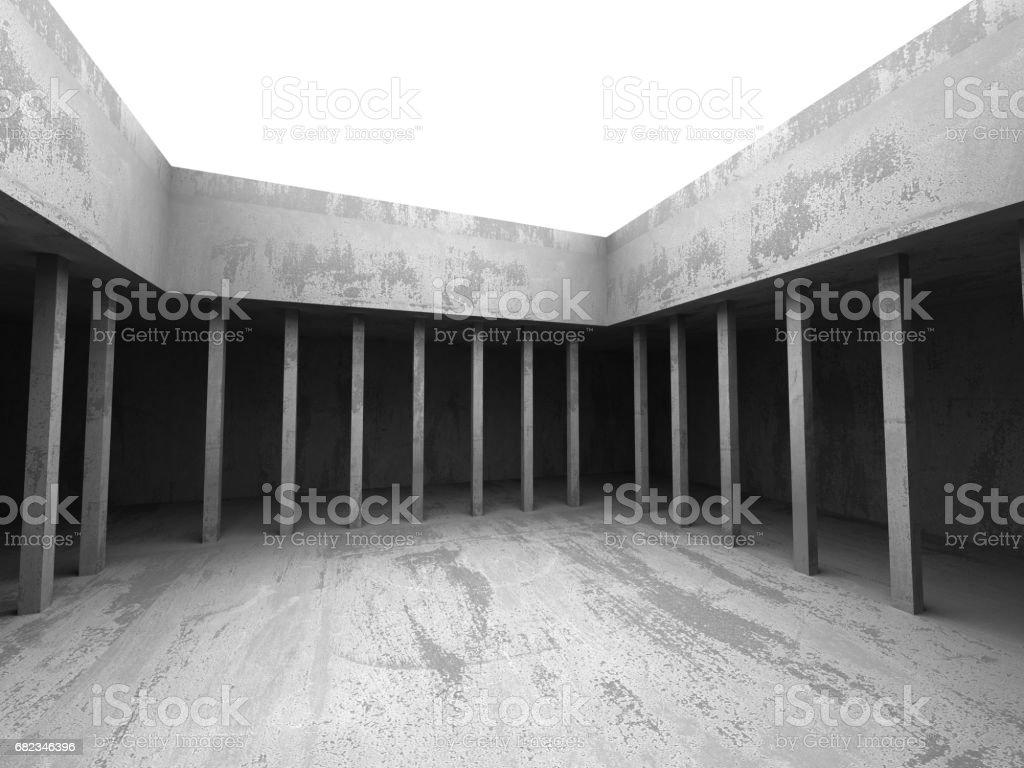 Dark concrete empty room. Modern architecture design royalty free stockfoto