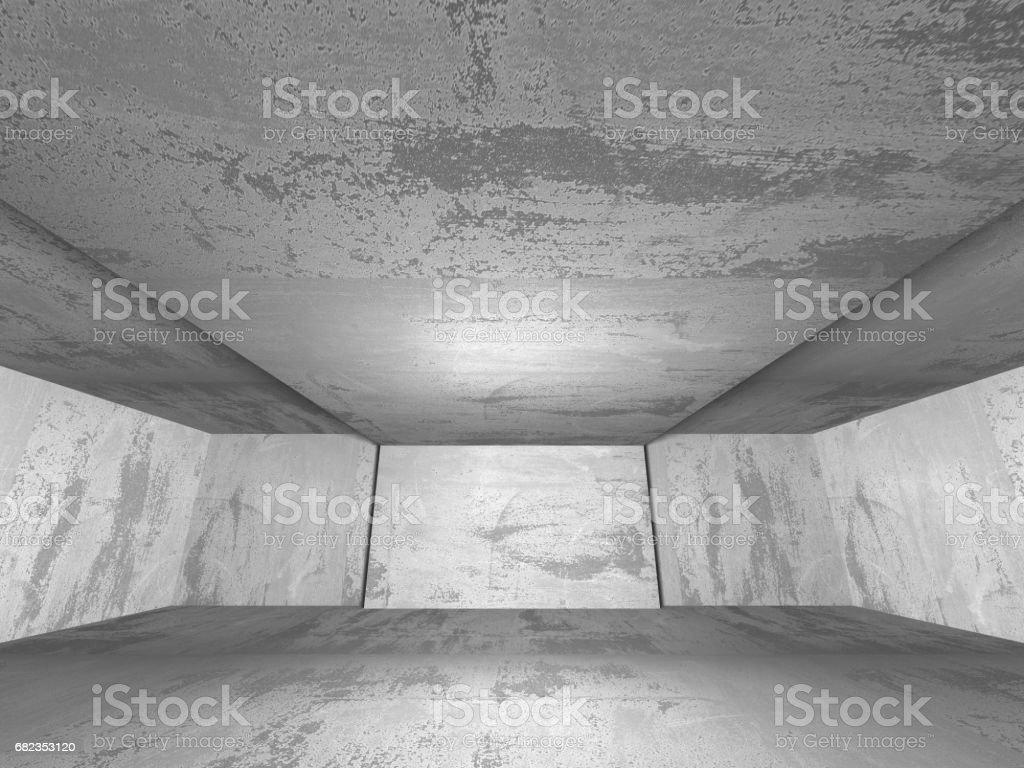 Mörka konkreta tomt rum. Modern arkitektur och design royaltyfri bildbanksbilder