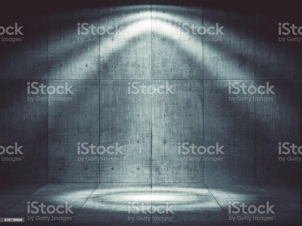 Dunkle konkrete Umgebung mit top-Beleuchtung – Foto