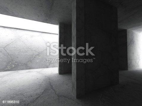 611897876istockphoto Dark concrete interior. Empty room. Architecture background 611895310