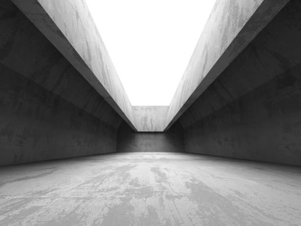Dark concrete room interior. Abstract architecture industrial ba – Foto