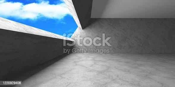692409462 istock photo Dark Concrete Wall Architecture. Empty Room 1220929408