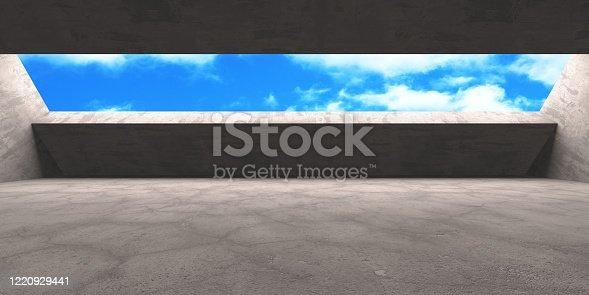 692409462 istock photo Dark Concrete Wall Architecture. Empty Room 1220929441