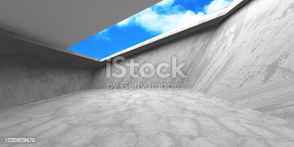 692409462 istock photo Dark Concrete Wall Architecture. Empty Room 1220929470