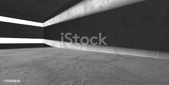 692409462 istock photo Dark Concrete Wall Architecture. Empty Room 1220929545