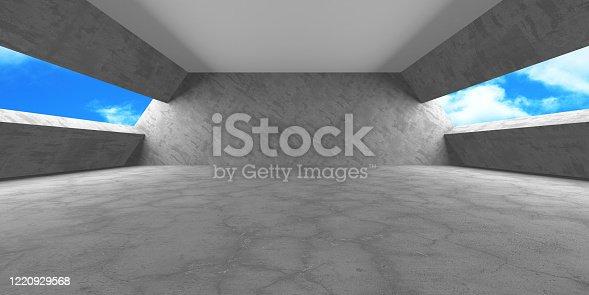 692409462 istock photo Dark Concrete Wall Architecture. Empty Room 1220929568