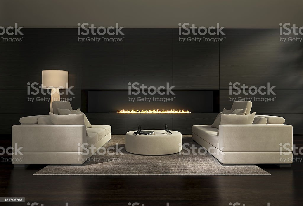 Dark contemporary living room with a fireplace stock photo