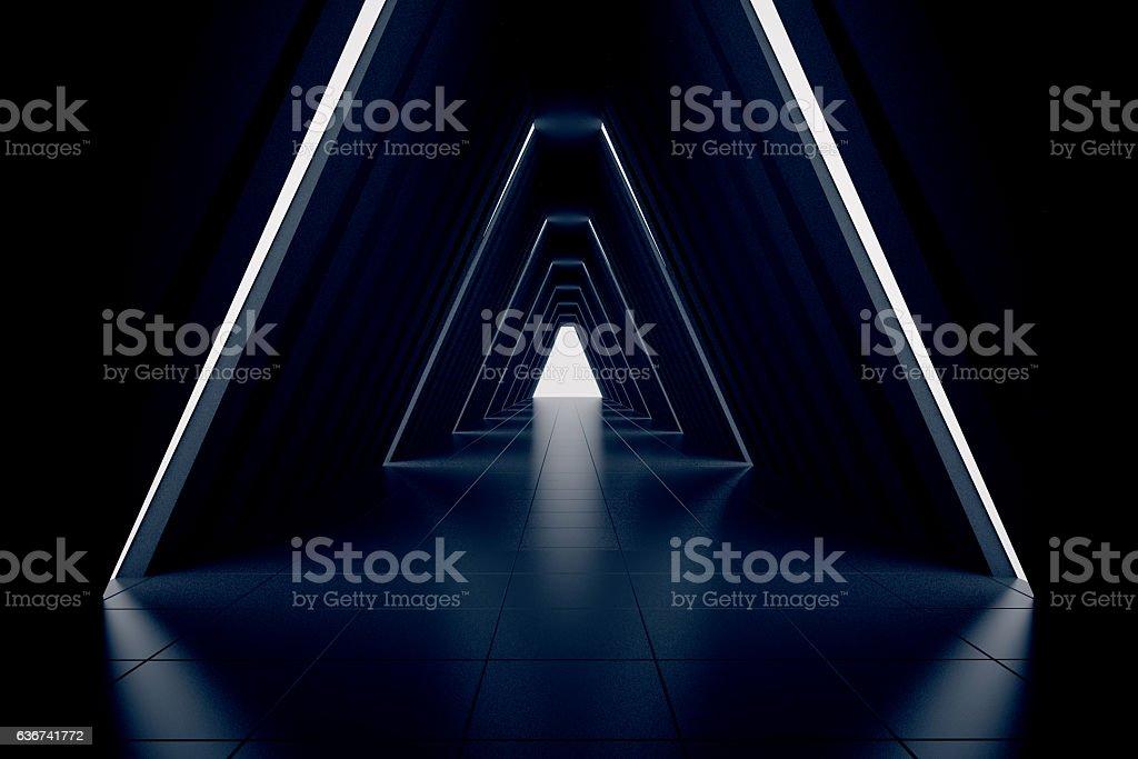 Dark corridor interior stock photo