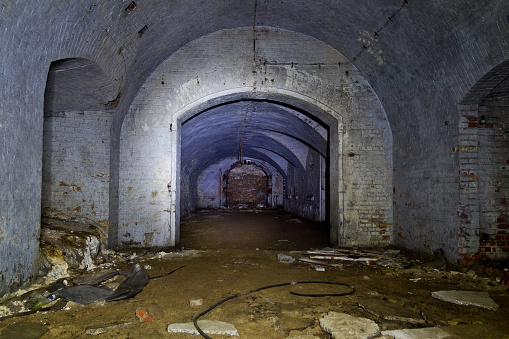 Dark corridor of old abandoned Prussian fort