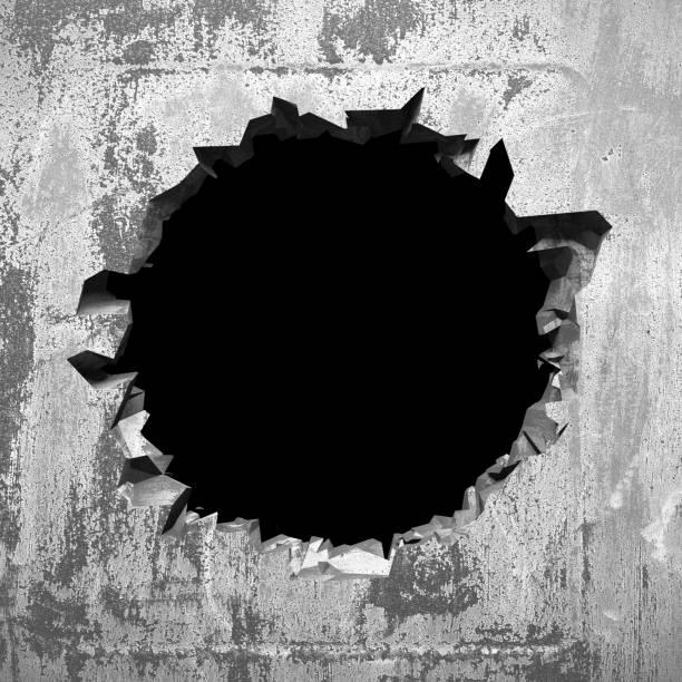 Dunkel riss gebrochenes Loch in Betonwand. Grunge Hintergrund – Foto