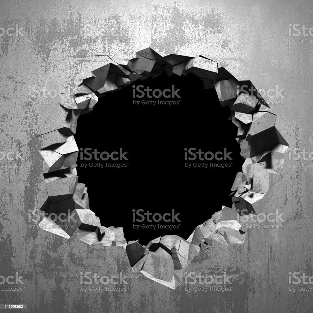 Dark cracked broken hole in concrete wall. Grunge background. 3d...