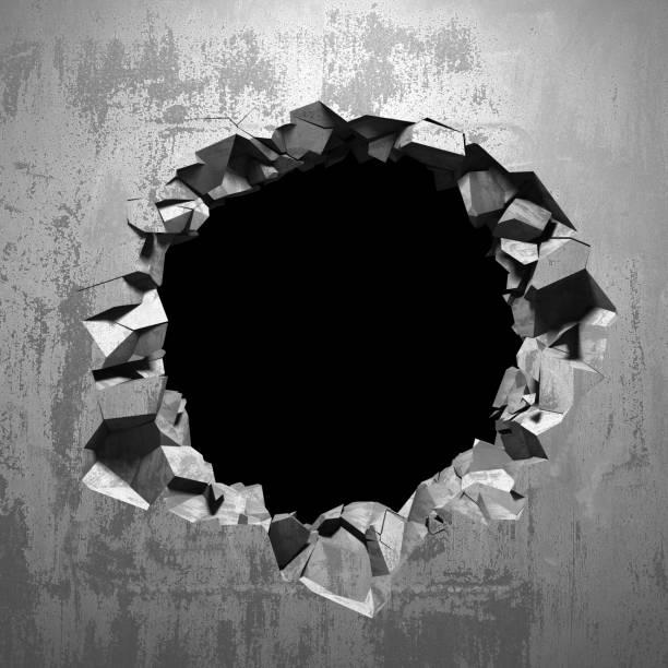 Dunkel geknacktes kaputtes Loch in Betonwand – Foto