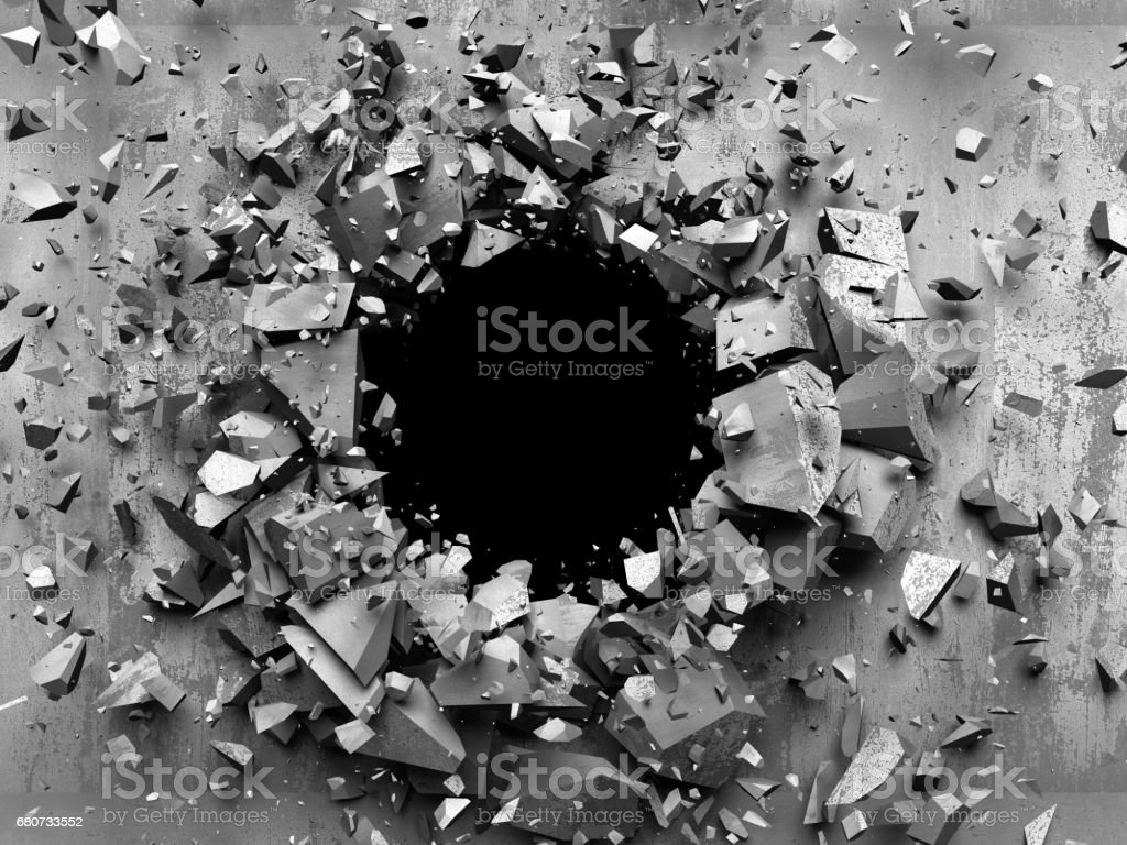 Dark cracked broken wall in concrete wall. Grunge background stock photo