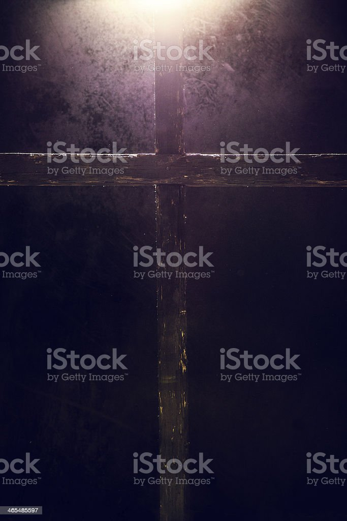 Dark Cross with Light Overhead royalty-free stock photo