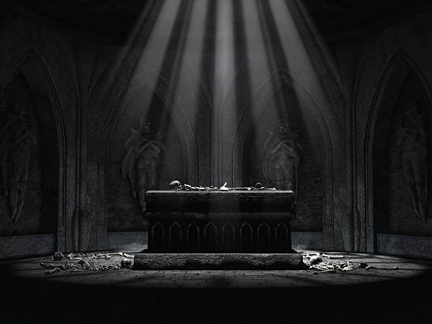 Dark crypt with a creepy altar stock photo