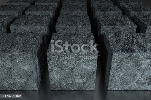 istock Dark cubes randomly distributed in the air, 3d rendering. 1174706102