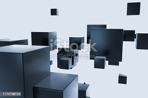 istock Dark cubes randomly distributed in the air, 3d rendering. 1174706124
